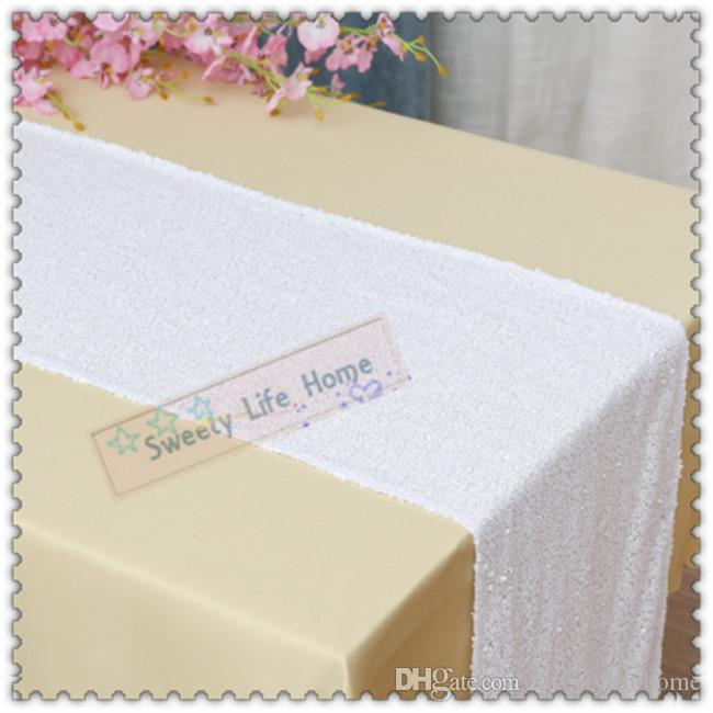 New Products Free shipping White Hotel Shining Sequin table runners Banquet Glittering Table Runner for Party Christmas Events