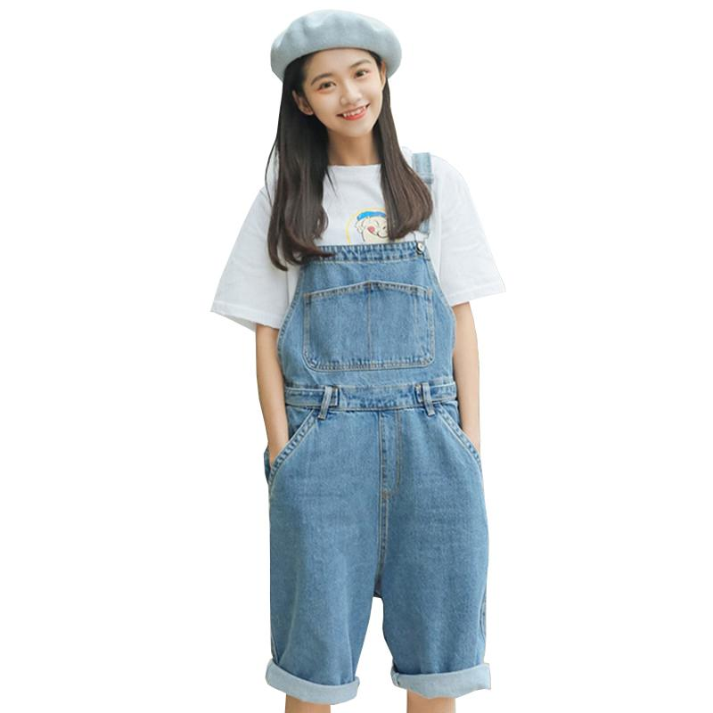 d2a35f23919 2019 Summer Denim Jumpsuit Short Women Plus Size Loose Korean Casual Solid  Overalls BF Thin Fashion High Waist Wide Leg Shorts LR195 From  Chongyangclothes