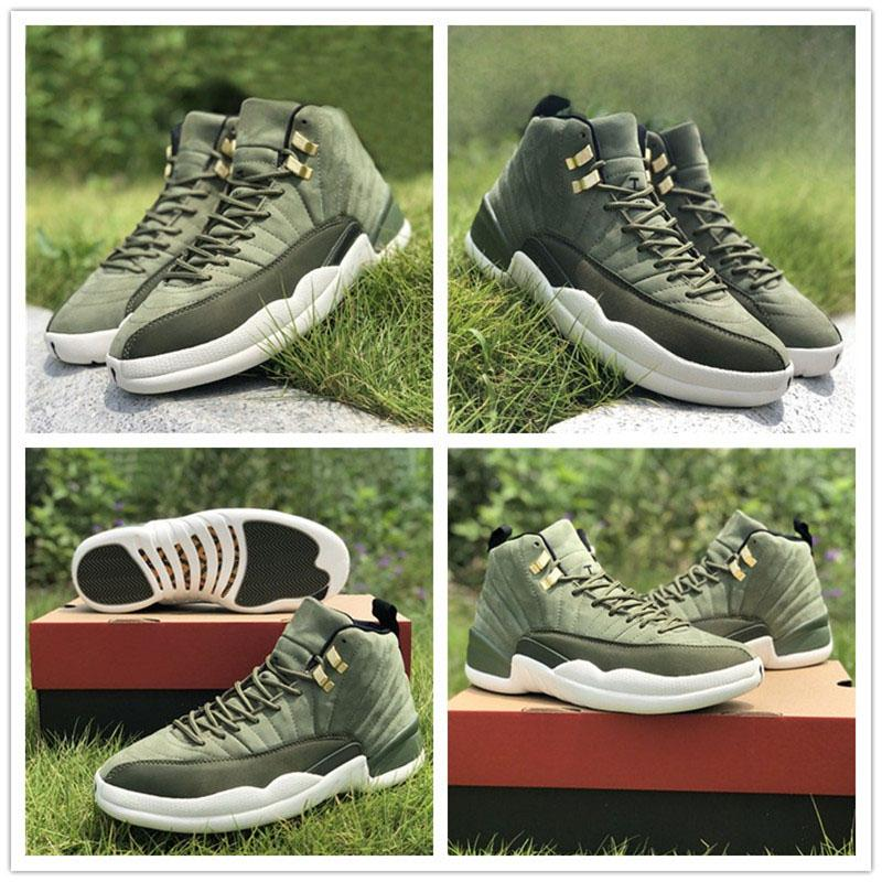 8b067c42b72d8f 2018 Newest Mans 12 12s OVO Basketball Shoes EU40.5 47.5 Army Green  Sneakers Height Increasing Fashion Basketball Shoes With Original Box Shoes  Sports ...