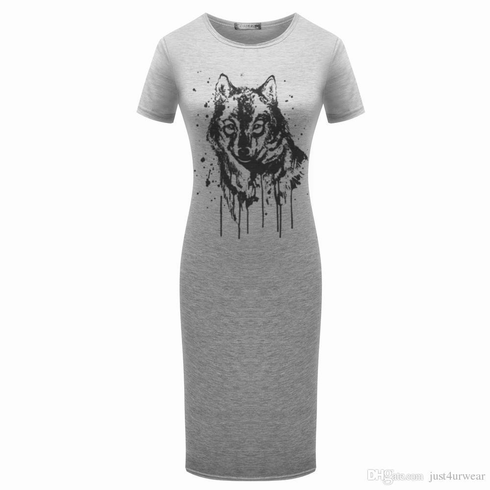 여성 그레이 캐주얼 드레스 손가락 박수 붉은 립 호랑이 꽃 인쇄 짧은 소매 칼집 Bodycon 드레스 펜슬 드레스