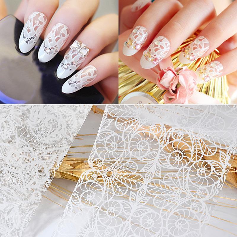 White Lace Nail Art Foils Hollow Floral Nail Transfer Sticker Diy