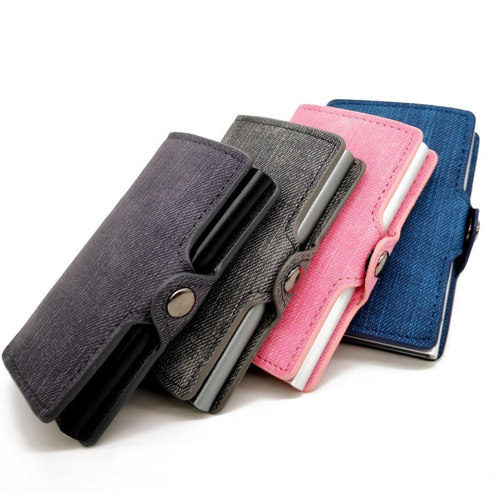 promo code c33b4 bf246 Casekey Anti-Theft RFID Blocking Aluminum Wallet Minimalist Card wallet  Denim Leather Coin Card Case