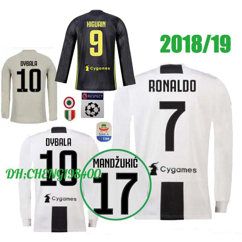 04bf1e7b41b JUVENTUS Long Sleeve Soccer Jersey 18 19 Juve Home 3RD RONALDO  10 ...