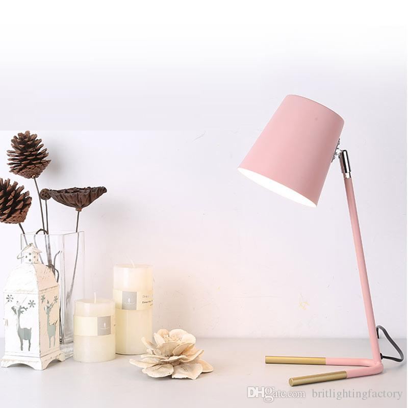 Nordic Modern Simple Table Lamp Creative Personality Iron Desk Light Office  Reading Led Lamp Bedside Study Color Led Table Lamp Pink Lights Led Table  Lamp ...