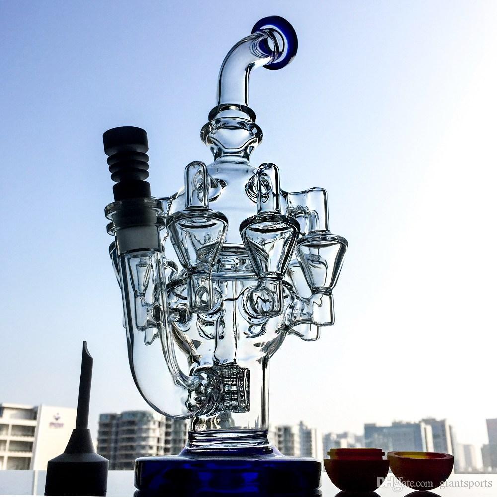Nuevo diseño TALL MATRIX PERC Glass Bong Recycler Bong DAB Oil Rigs con tipos de agua de brazos de pulpo con clavo de cerámica Cap Cap OA013