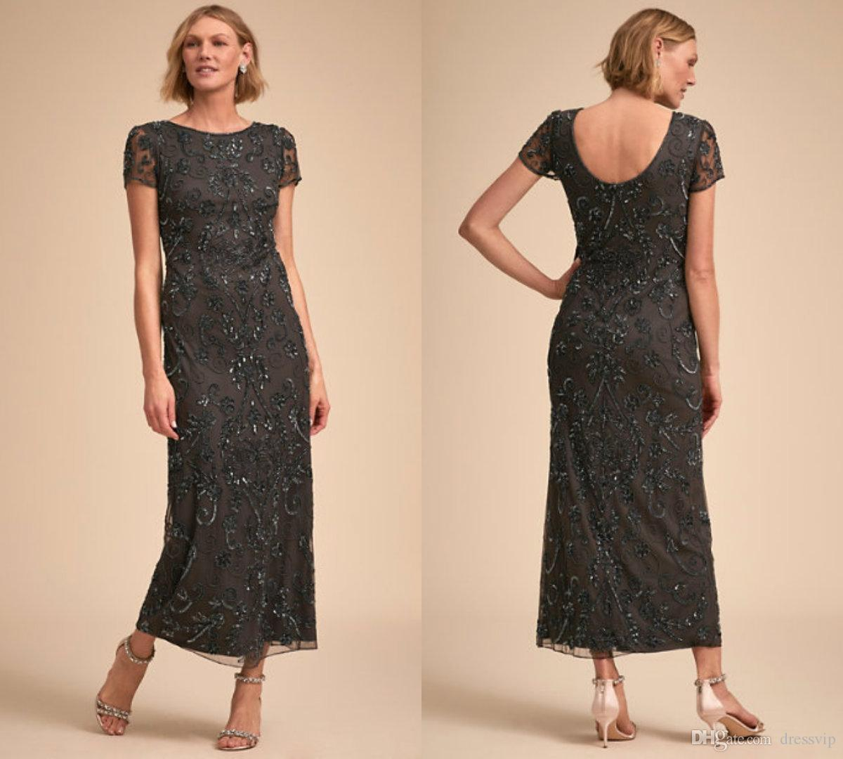 f231f6e07c1 2018 BHLDN Mother Of The Bride Dresses Jewel Neck Lace Applique Knee Length  Short Sleeve Elegant Mother S Gowns Prom Party Wear Beaded Joan Rivers ...