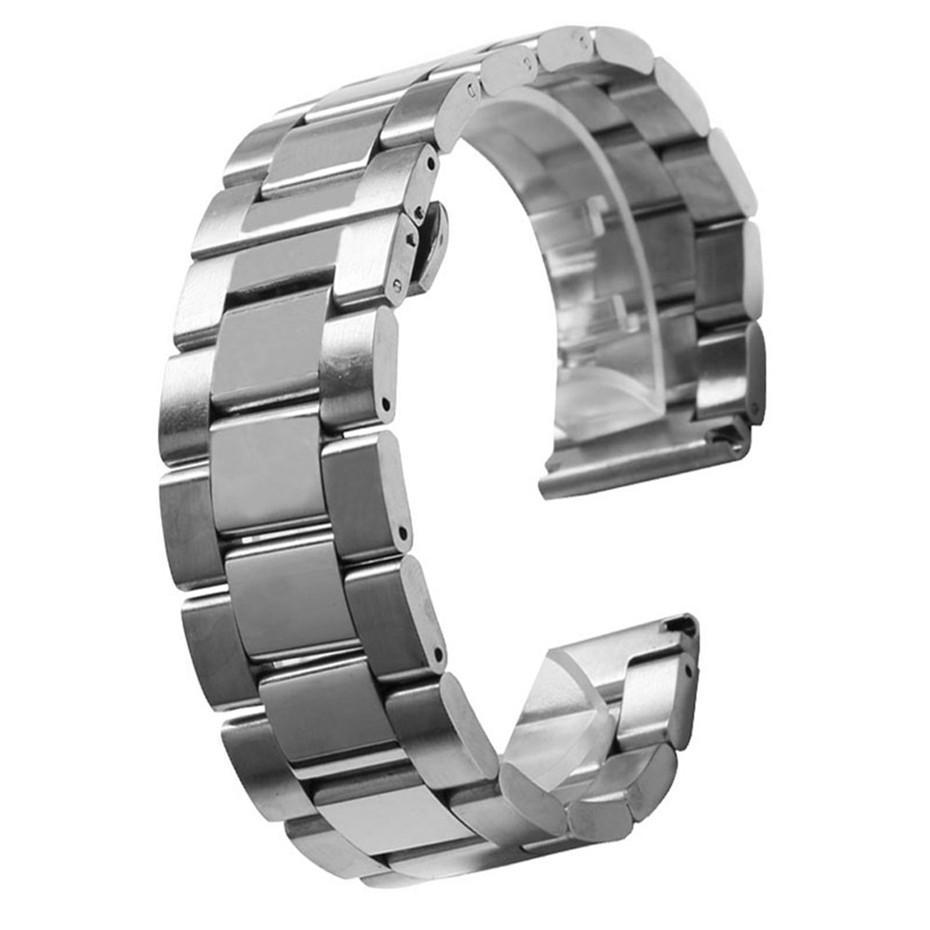 876b15881f2 Compre 20mm 22mm 24mm Pulseira De Prata De Aço Inoxidável Sólido Das  Mulheres Dos Homens Relógios Strap Implantação Fivela Pulseira Relógio De  Substituição ...