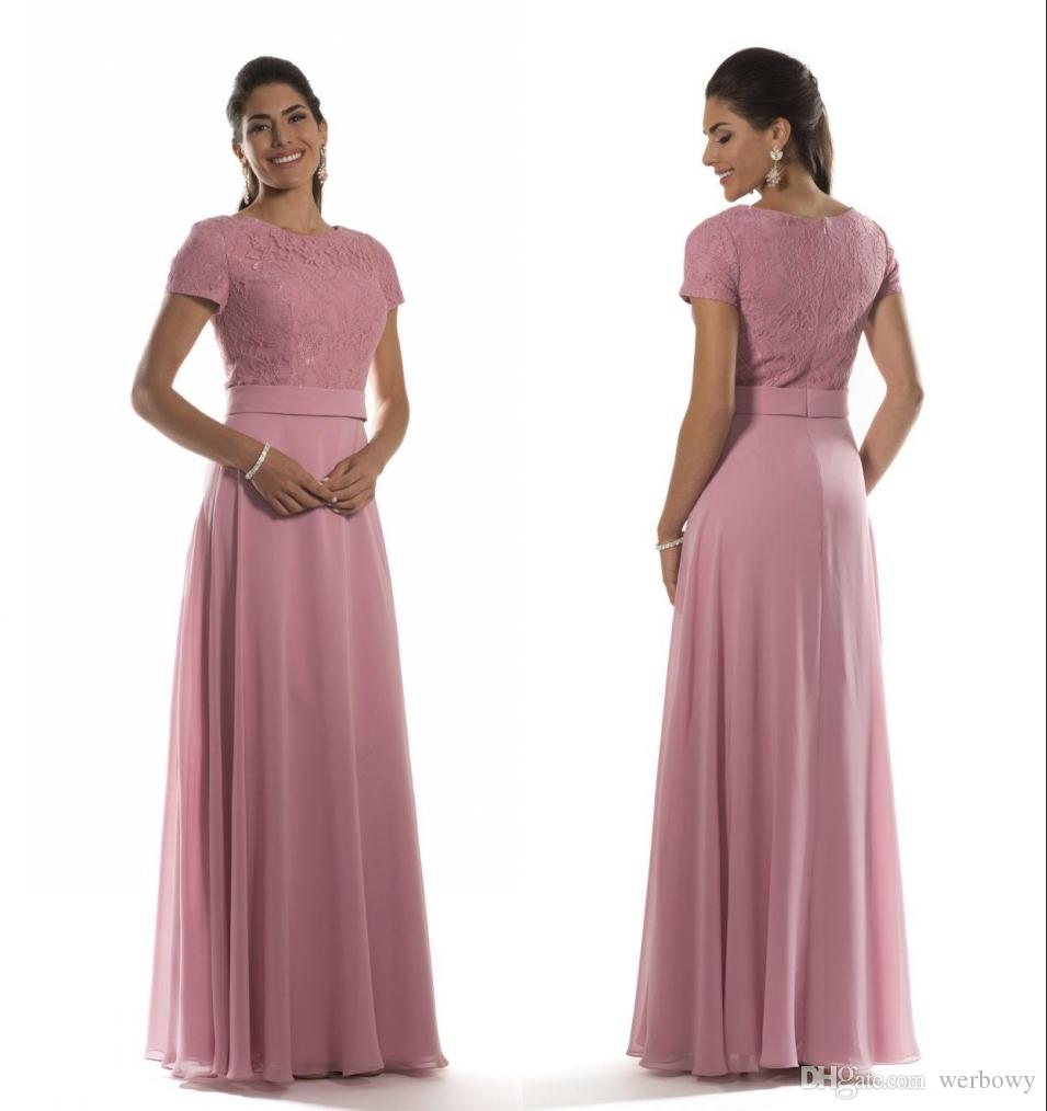 acd121a7a65a7 Dusty Pink Long Modest Bridesmaid Dresses With Short Sleeves Jewel Lace  Bodice Chiffon Formal Evening Maids Of Honor Dresses Custom Made