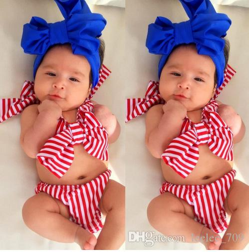 Baby Girls Red Striped Bowknot Bikini Bandage Swimsuita Kids Wears Costume da bagno Costume da bagno Beach Wear da piscina