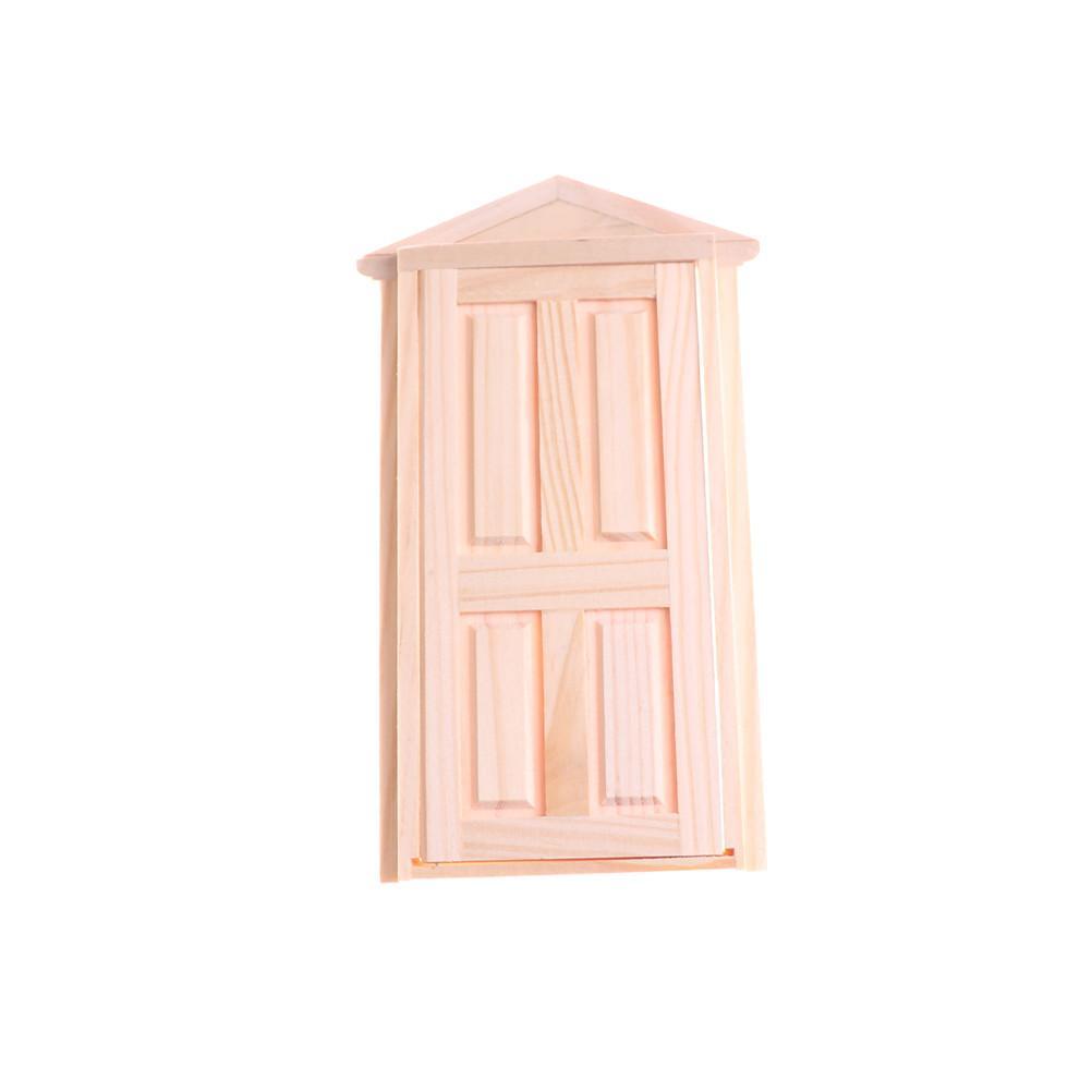 Wooden Door Matching Frame Dollhouse Miniature Exterior Inward Open ...