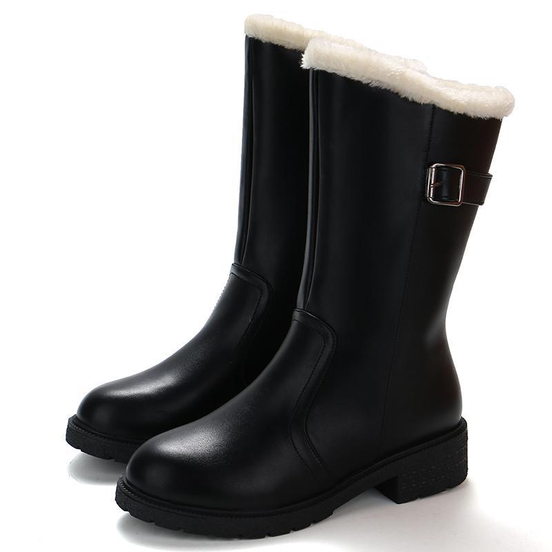 buy popular a0589 94ff8 2018 New Mid Calf Frauen Regen Stiefel Herbst Komfortable Pelz Innerhalb  Schwarze Schuhe Frau 4 cm Med Fersen Weibliche Casual Schnalle Schuhe