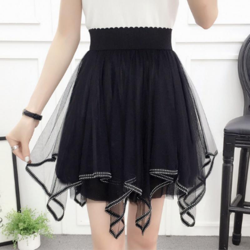 eb87cd769 2018 Nueva Primavera Verano Mujer Negro Rosa Mini Falda Elástica Coreana  Pantalones Cortos de Cintura Alta Faldas de Encaje Dulces