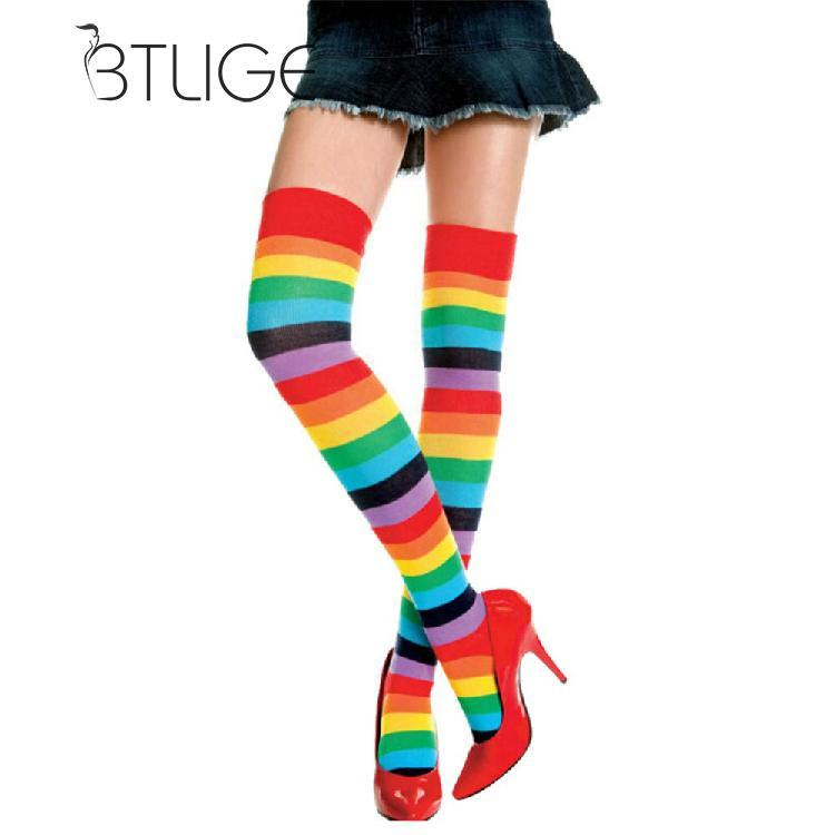 22a3f5e38d1 2019 BTLIGE Women Stockings Cute Cotton Thigh High Mixed Colored Rainbow  Striped Long Stockings Knitted Ladies Over The Knee Socks From Maoyili