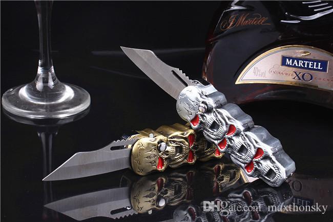 2 in 1 creative refillable windproof butane gas cigarette lighter jet torch metal skeleton skull shape knife outdoor kitchen BBQ functional