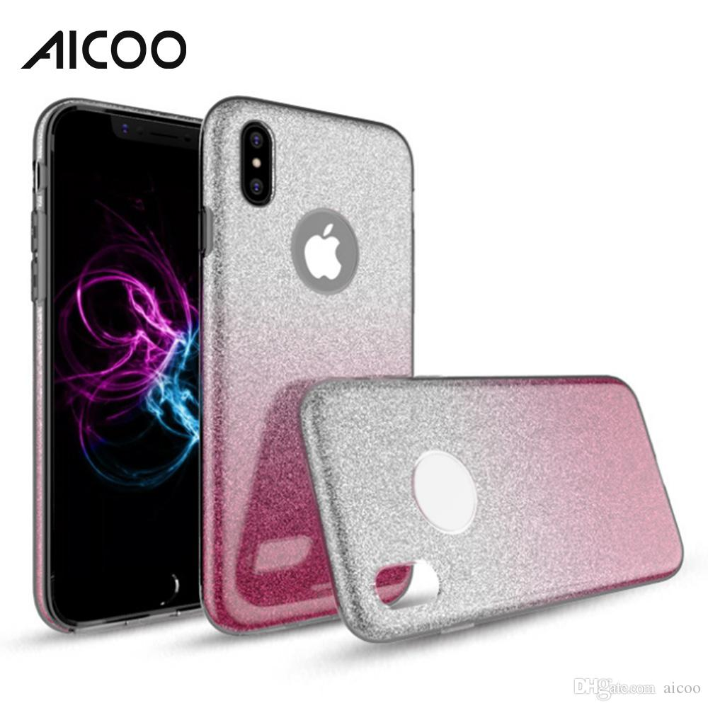 Aicoo Hybrid Gradient Glitter Bling Shiny Cover Colorful Case for iPhone 2019 XI Samsung Note 10 Plus M10 A50 Huawei P30 MOTO OPP