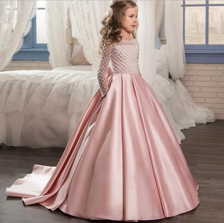 22f086c7b Compre Encaje Vestidos De Niña De Flores Para Bodas Mangas Largas Vestido  De Noche Para Niños De Color Rosa Vestidos De Comunión Para Niñas Vestidos  De ...