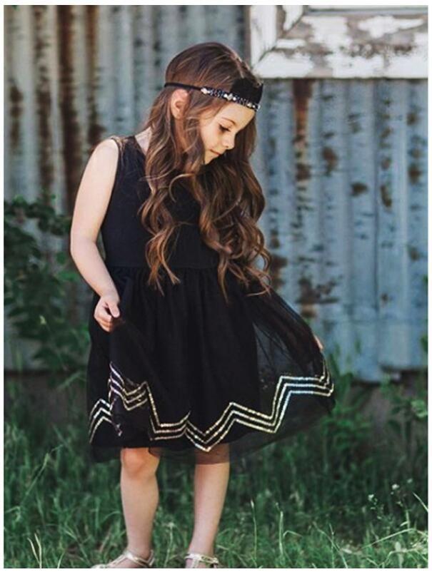 فتاة سوداء بلا أكمام الأورجانزا فساتين طفلة الشاش البريدي سترة مطرزة فستان الأميرة الاطفال الصيف تنورة ملابس الأطفال CNU 004