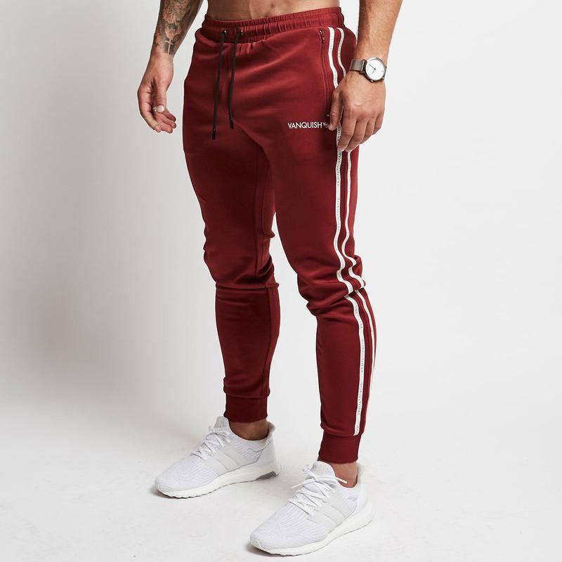 d250dc0dca894c 2019 Red Jogging Pants Men Striped Sport Sweatpants Running Pants GYM Men  Cotton Long Fitness Jogger Bodybuilding Trouser From Qingbale, $28.81 |  DHgate.Com