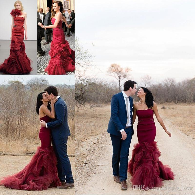 3c09d97bf6 Burgundy Mermaid Wedding Dresses Wine Red Strapless Backless Long Bridal  Party Gowns Plus Size Vestidos De Novia Sirena Beautiful Mermaid Wedding  Dress Big ...