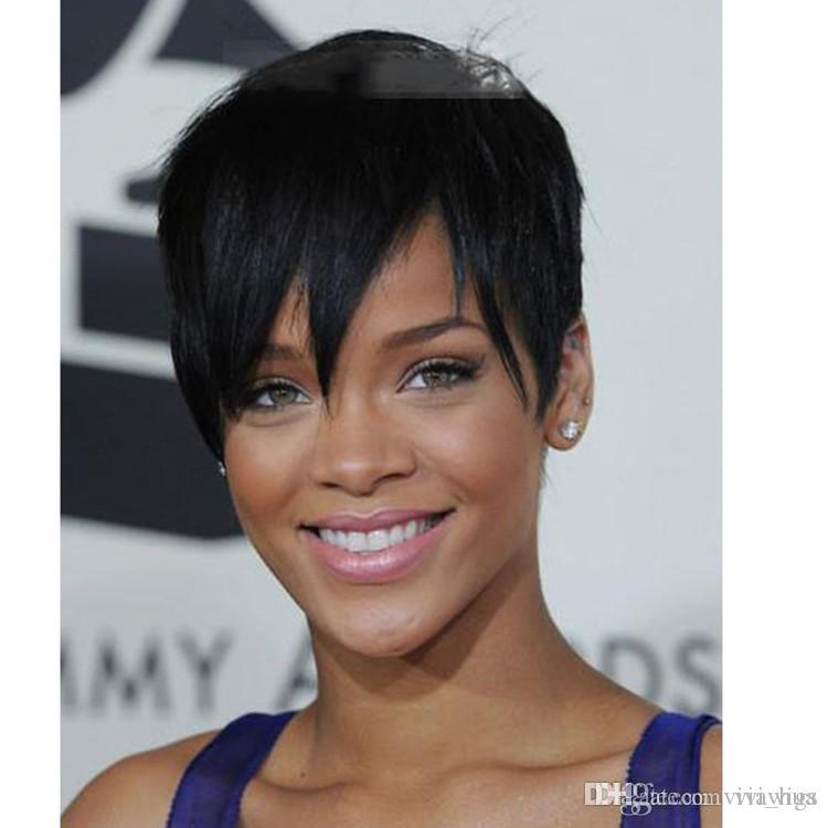 Rihannas Hairstyle Black Short Wigs For Black White Women Synthetic