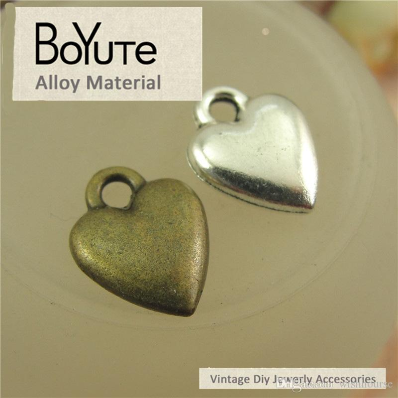 BoYuTe / 14*10MM Vintage Accessories Parts Antique Bronze Silver Plated Heart Charms Pendant for Jewelry Making Diy Necklace