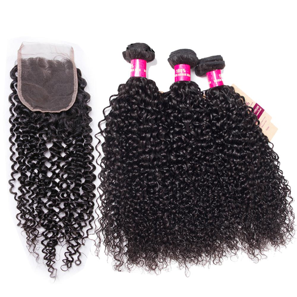 8A Brazilian Hair 3Bundles With Lace Closure 100% Unprocessed Body Wave Straight Loose Wave Curly Human Hair Extensions Dyeable Hair Weaves