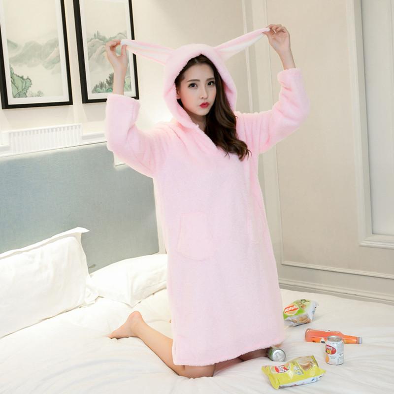 Winter Coral Fleece Night Dress Cartoon Hooded Nightgown Long Sleeved Sleepwear Thickened Sweet Princess Nightgown Sleep Dress