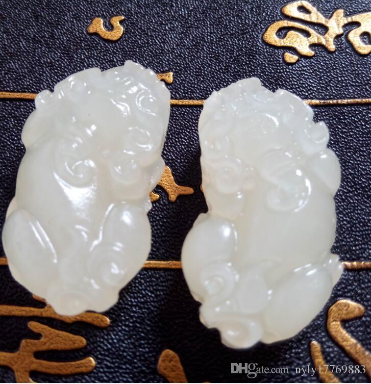 Chinas xinjiang Hotan weiße Jade der mythischen wilder Tier-Liebhaber Frieden Anhänger mit freiem Verschiffen S2