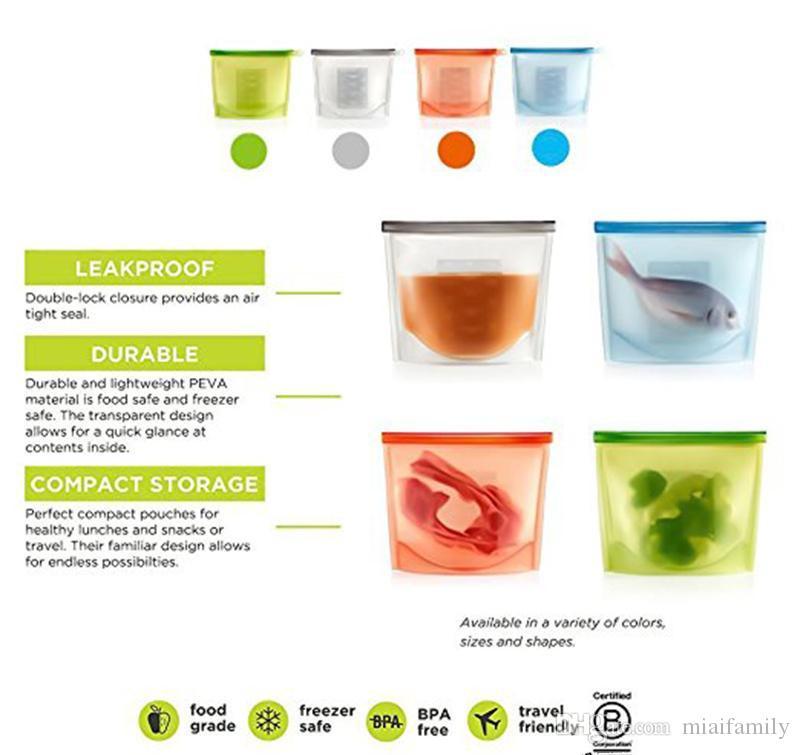 Yeniden Silikon Gıda Koruma Çantası Hava Geçirmez Mühür Gıda Saklama Kabı Yönlü Pişirme Çantası Ücretsiz Kargo
