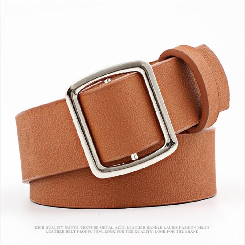 304bd9c3d 2018 New Square Metal Buckle Wide Waist Belt For Women Red Tan Black Pu  Leather Belts For Dress Jeans Female Waistband Belts Police Belt Nocona  Belts From ...