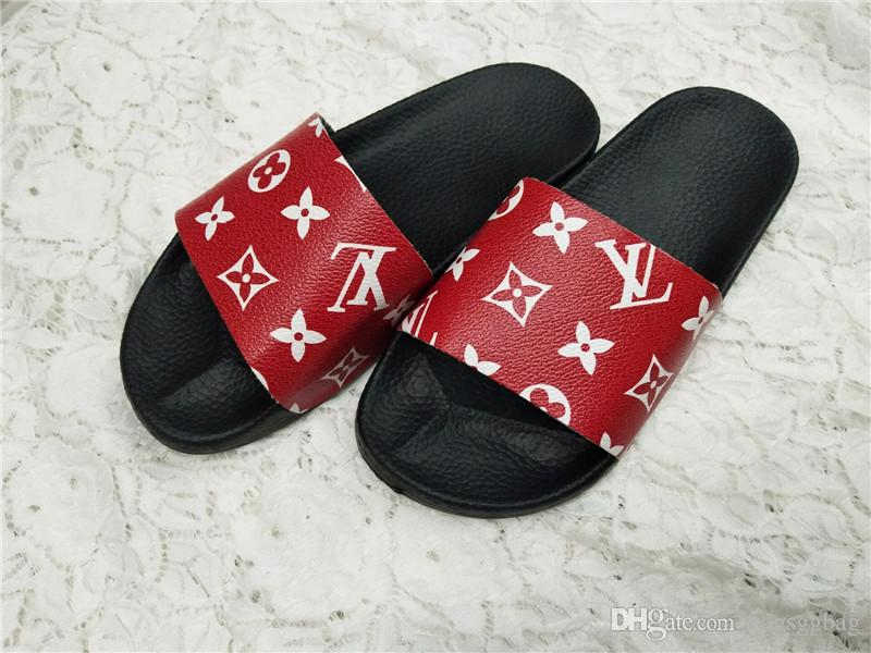 03561441e 2018 New Arrival Mens Fashion Brand Causal Trek Slide Sandals Flip Flops  with Printed Tiger And Moulded Rubber Footbed Leather Slippers Designer  Sandals ...