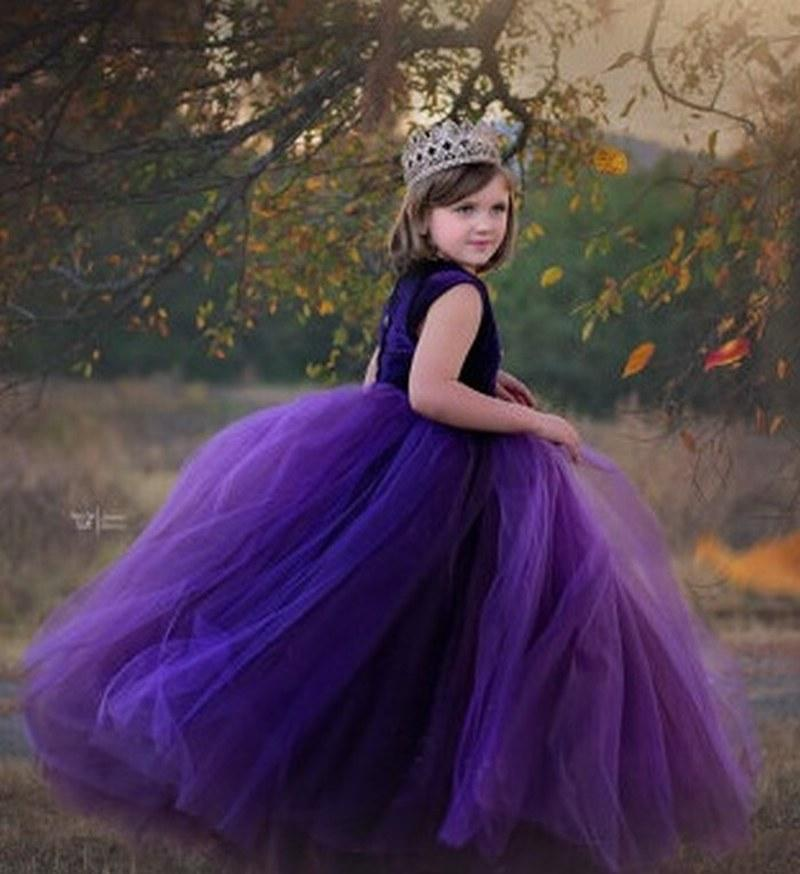 aefde1be7f1 Pageant Kids Gown Purple Tulle Flower Girl Dresses For Wedding Girl S Floor  Length Child Party Birthday Dress Xk18 Silver Flower Girl Dresses Toddler  Dress ...