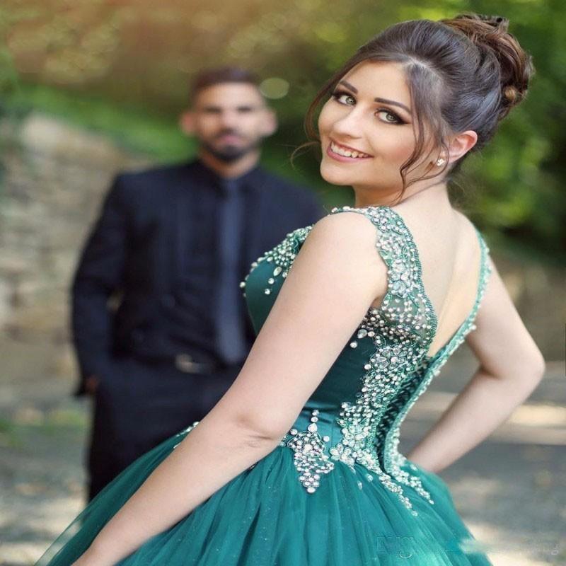 2018 Modest vestido de baile quinceanera vestidos com rendas pérolas espartilho volta Sexy voltar Lace-Up Formal Pageant Prom Dress Cristais frisado