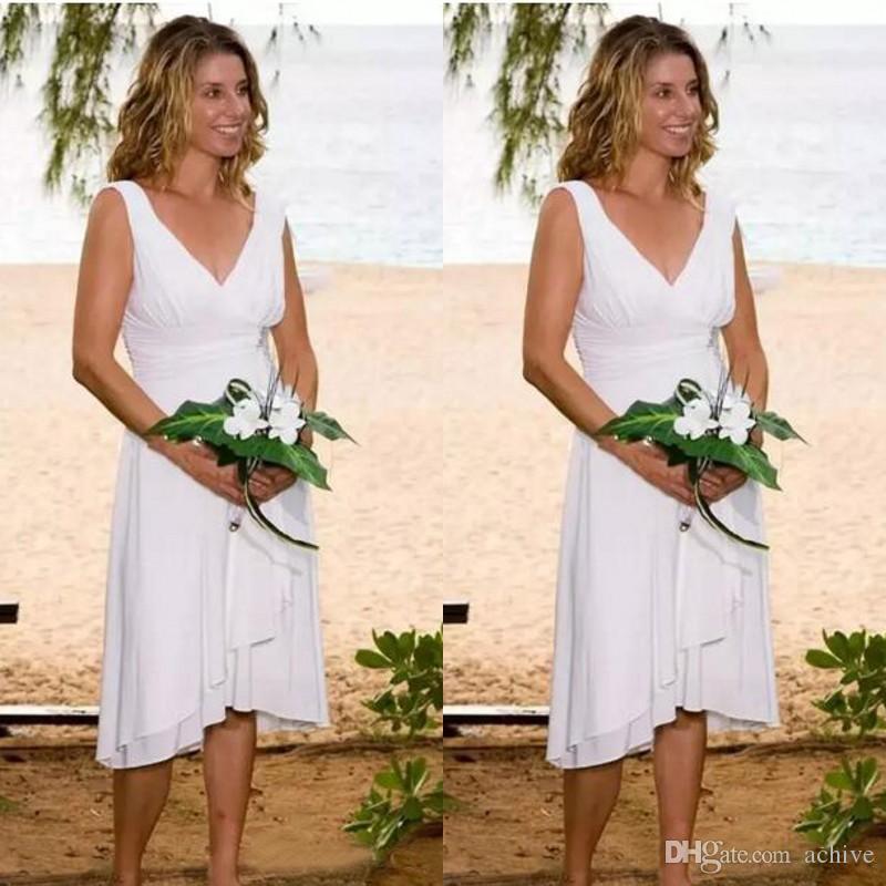 Nouvelle arrivée courte blanche mariage de plage Robes pas cher col en V froncé thé longueur informelles Robes de mariée 2020 Custom Made Chine robes de mariée