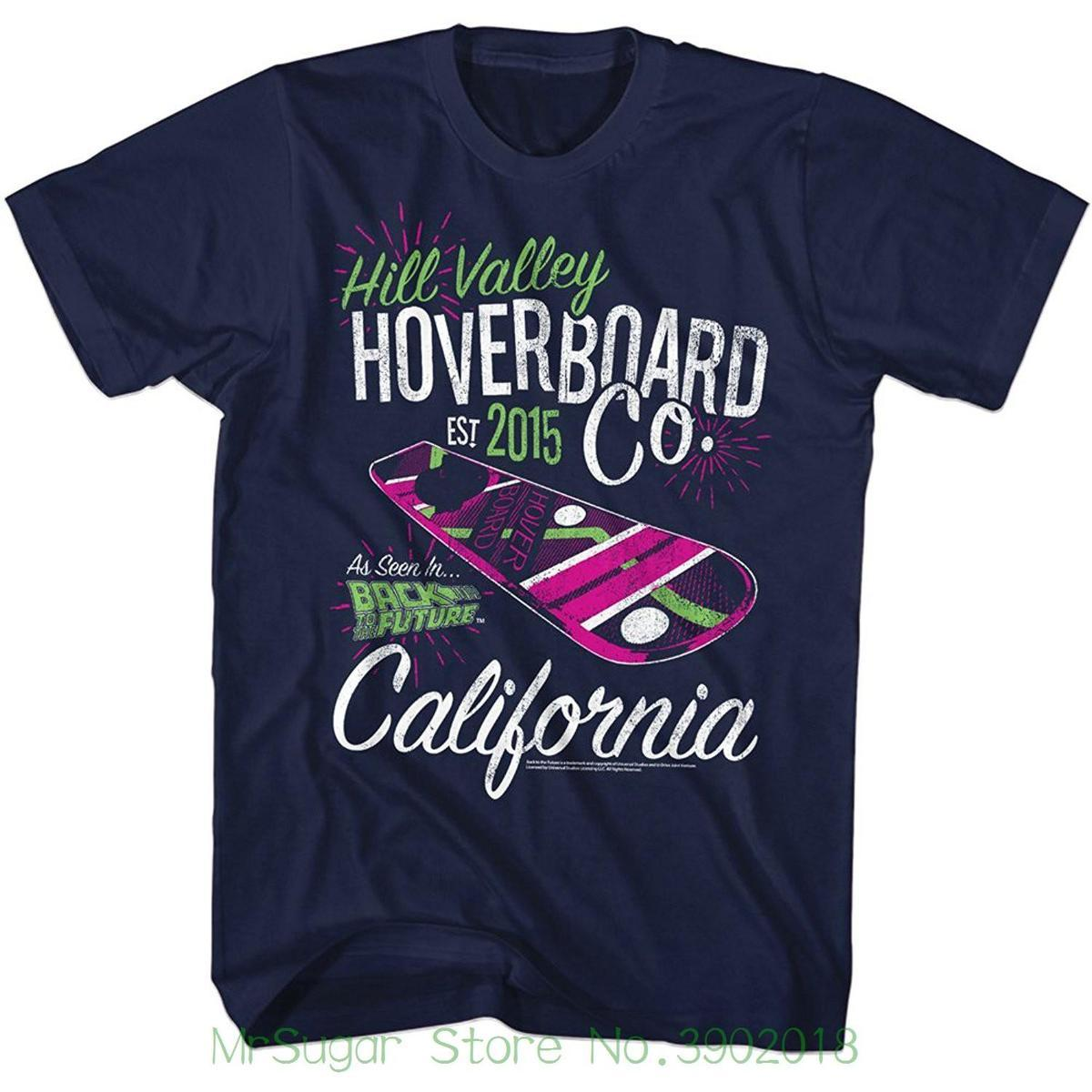 Hill Valley Hoverboard Company Navy Adult T-shirt Tshirt Men Black Short Sleeve Cotton Hip Hop T-shirt Print Tee Shirts