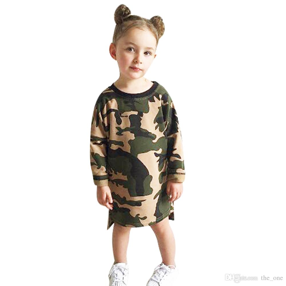 eb35c163417 2019 Baby Girls Clothes Long Sleeve Camouflage Dress Kid Loose Straight  Children Casual Style Shirt Toddler Girl Mini Dress From The one