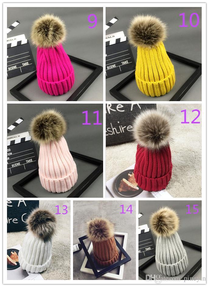 hats Autumn and winter women imitation prickly heat fox fur ball parent-child wool cap thickening warmth hedge knit hat