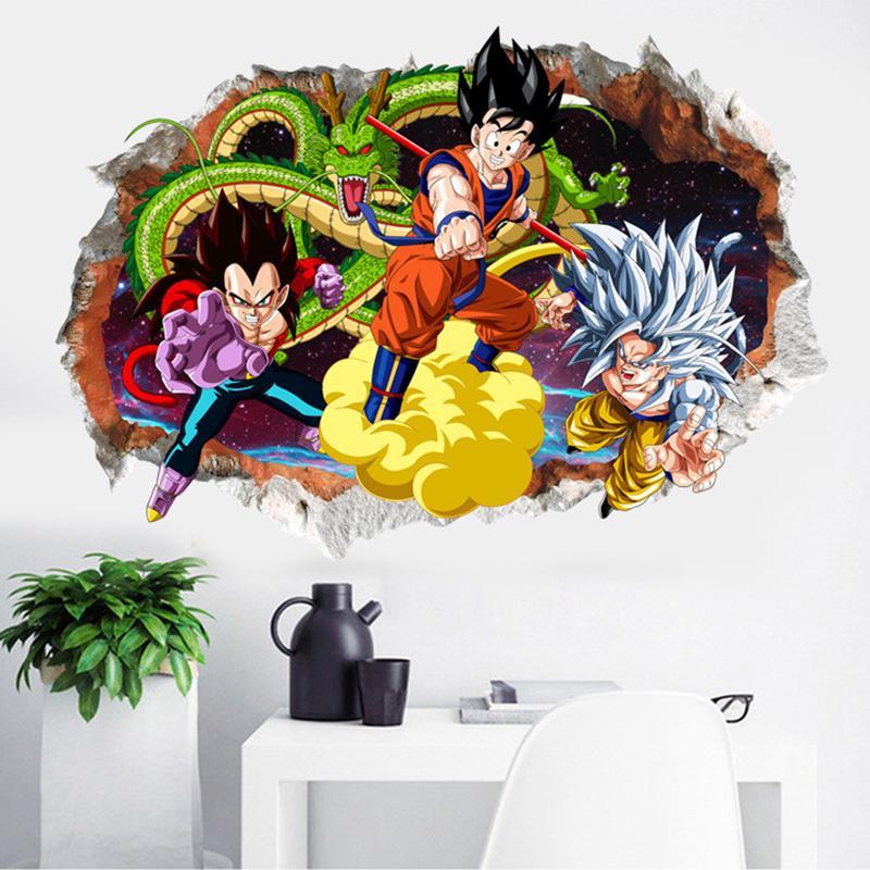 3D Dragon Ball Cartoon Wall Stickers Camera dei bambini Adesivo decorativo da parete Adesivi rimovibili Super Saiyan Carta impermeabile in PVC