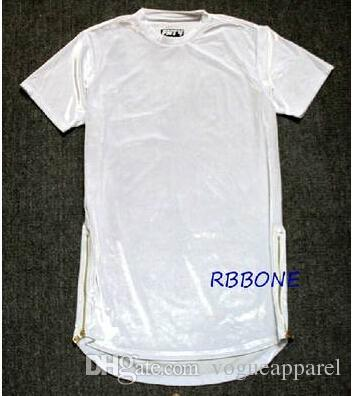 Men Extended Shirt Velour Tshirts Hi-Street Hip Hop Longline T Shirts Golden Side Zipper Velvet Curved Hem Tee
