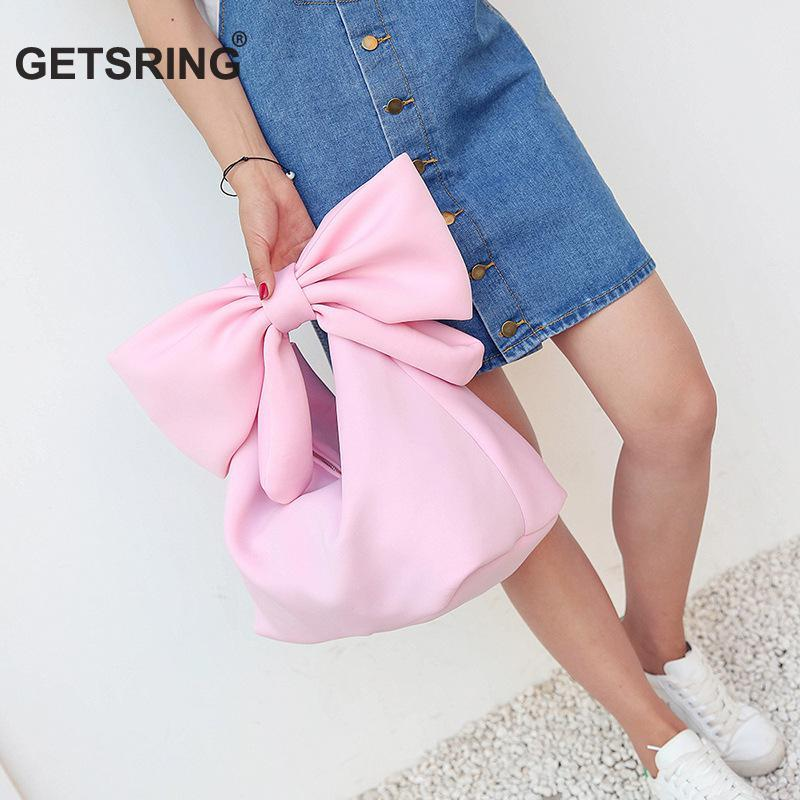 GETSRING Women Handbag Style bag Bow Bags Pink Red White Soft Space Cotton Tote All Match Totes Retrol Bag Purse Spring Summer