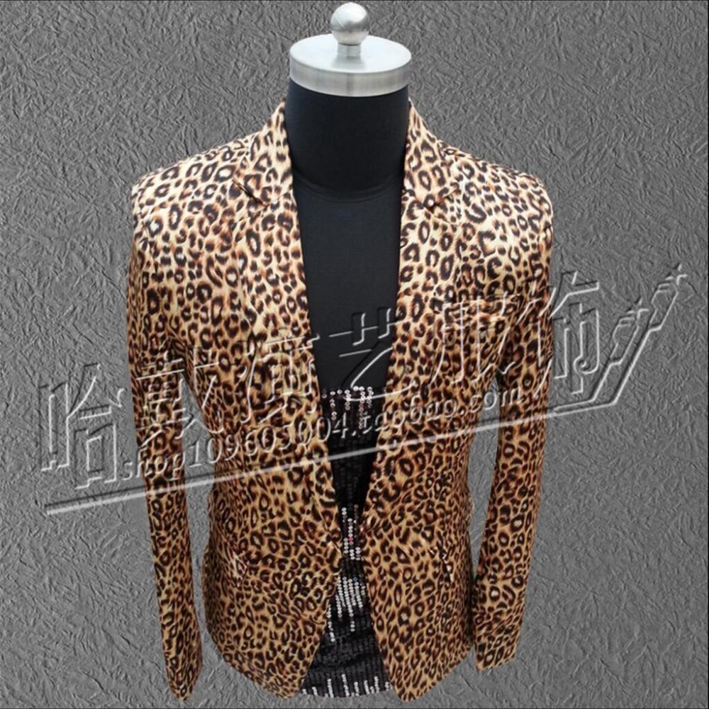 7cb3e547d8e6 HOT 2017 New Men's flower leopard suit jacket Korean version men small  blazer nightclub games singer stage costumes