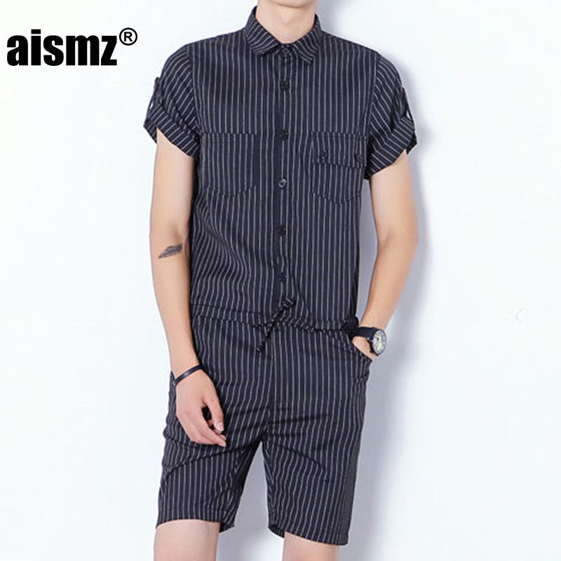 69116967c0ef 2019 Aismz Fashion Mens Rompers Short Sleeve Male Stretch Slim Fit Jumpsuit  Cool Cargo Short Single Breasted Tops Trousers Overalls From Redbud03