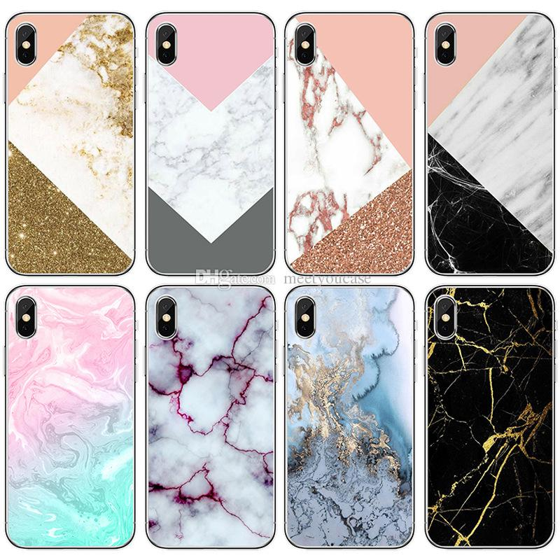 cf6f9607594 TPU clear Phone Case For Apple iPhone 5 5S SE 6 6S 7 8 Plus X marble stone  pattern print Soft silicone gel Back cases Cover+protector