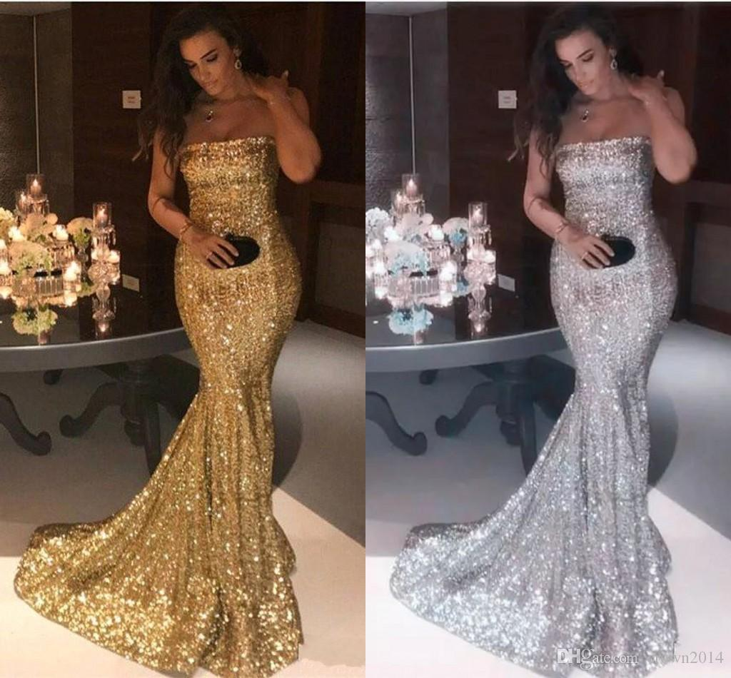 287cdae3a3 Sexy Strapless Silver Gold Mermaid Prom Dresses 2019 New Arrival Sparkly  Sequin Long Formal Evening Gowns Cheap Vintage Party Wear Plus Size Prom  Dresses ...