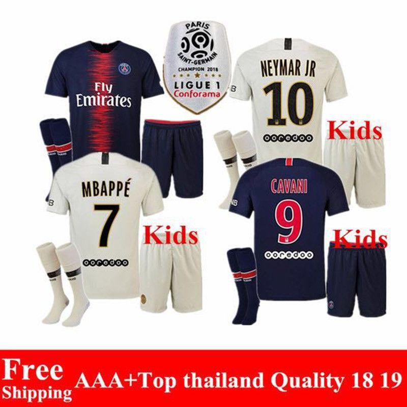 0789a86d8 2019 2018 2019 Psg Kids MBAPPE Maillot 18 19 Home Blue Away White CAVANI  Football Jerseys Paris Saint Germain Child Soccer Jerseys Sets From ...