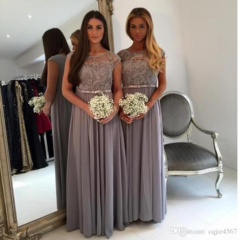 2018 Elegant Long Grey Bridesmaids Dresses Jewel Neck Capped Sleeves A-line Floor-length Chiffon Maid of Honor Dress Plus Size Formal Gowns