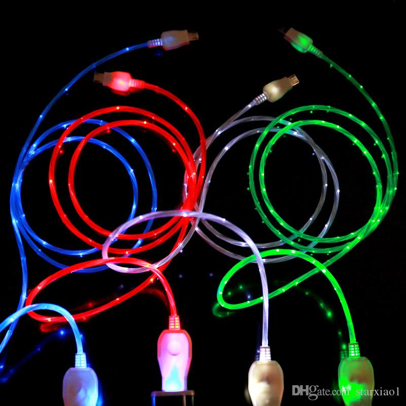Flowing USB Cable Upgrade Extra Bright Brilliant LED Light Up Charging Data Cable Direction Flow Stream Opp Bag for android samsung phones