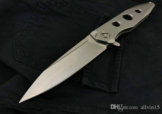 Drop Shipping 3 Gözler Flipper Katlanır Bıçak 9Cr18 Saten Blade CNC Çelik Kolu Çerçeve Kilit EDC Cep Bıçaklar Açık Dişli