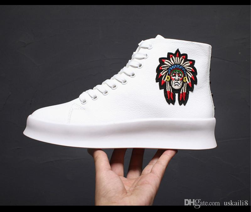 114e8e7509d9 2019 Luxury High Men S Shoes Leather Boots Personalized Fashion Embroidery  Increased Small White Shoes High End Quality Factory Direct Sales From  Uskaili8