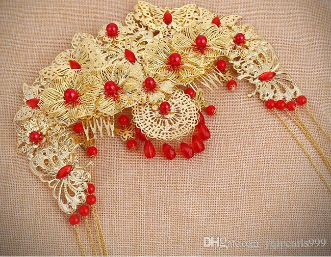2018 büyük kırmızı gelin headdress kostüm püskül Düğün Saç Tarak